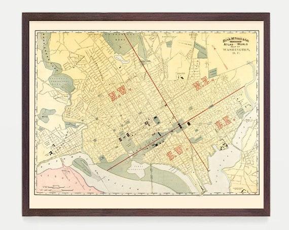 Washington DC Map, Washington DC Art, Washington DC Poster, Washington, Washington Map, Capitol, Potomac, Vintage Washington dc,  City Map
