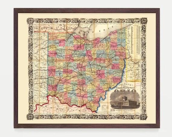 Ohio Map, Ohio Map Art, Map Decor, Ohio Decor, Ohio Art, Ohio Wall Art, Old Map, Map Wall Art, Map Decor, Ohio Poster, Ohio Print, Home Art