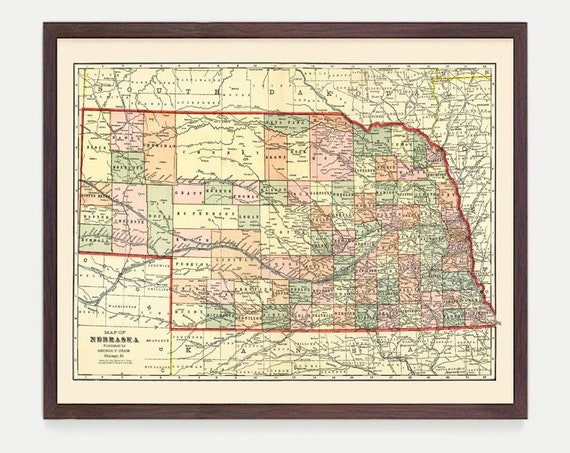 Nebraska Map - Map Art - Map Decor - State Map - Nebraska Art - Nebraska Decor - Nebraska Wall Art - Old Map - Map Wall Decor - Vintage Map