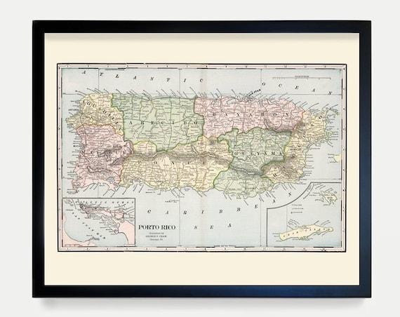 Puerto Rico Map - Vintage Puerto Rico - Puerto Rico Art - Puerto Rico Wall Art - Puerto Rican - San Juan - San Juan Map - Puerto Rican Art