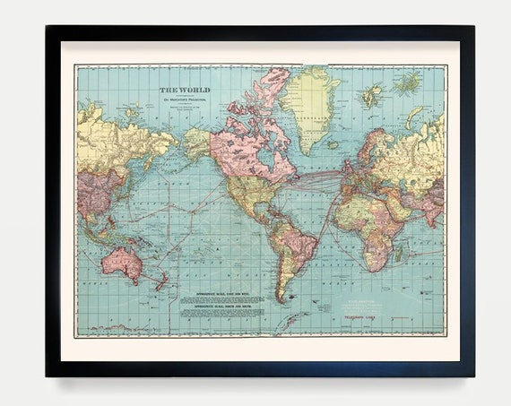World Map - Push Pin Map - World Travel - Atlas - Vintage Atlas - United States Map - World Map Art - World Poster - Map Art - Map Decor