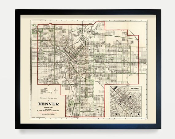 Denver Map - Colorado Map - Map Art - Map Decor - City Map - Denver Art - Denver Decor -Denver Wall Art - Old Map - Home Decor - Denver Gift