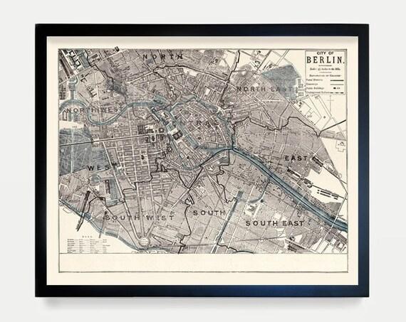Berlin Map - Berlin Art - Germany - Germany Map - Berlin Poster - Berlin Wall Art - Map Art - Vintage Berlin - Wall Art - Europe - Gift