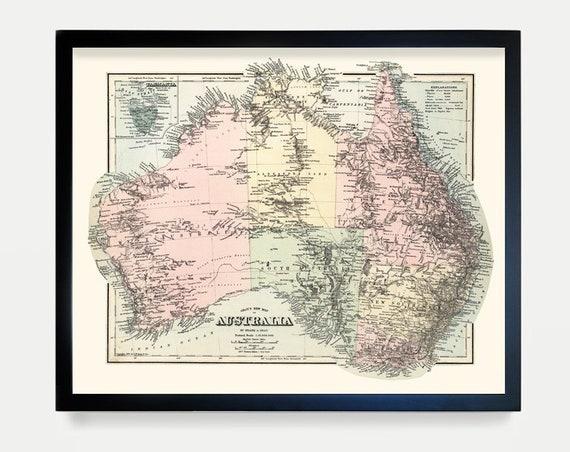 Australia Map - Australian - Australia Art - Australia Wall Art - Australia Poster - Brisbane - Sydney - Melbourne - Map Art - Map Decor