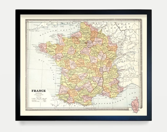 France Map, French Map, Map Art, Map Decor, Europe, France Art, France Decor, Vintage France, French Map, French Art, Paris Art