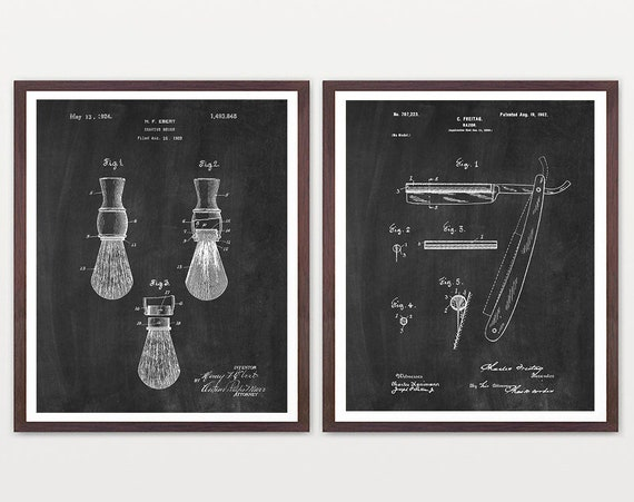 Shaving Patent Art, Bathroom Decor, Men's Bathroom Art, Bathroom Wall Art, Razor Patent, Shaving Brush Patent, Housewarming, Vintage Shaving