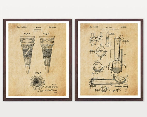 Ice Cream Patent Poster - Ice Cream Poster - Ice Cream Art - Ice Cream Cone - Ice Cream Scoop - Ice Cream Decor - Ice Cream Shop - Ice Cream