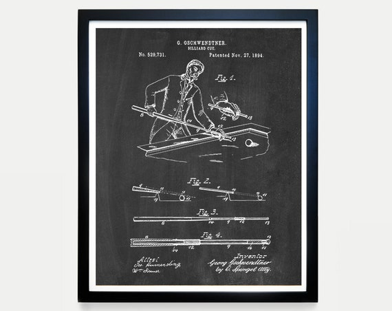 Billiards Cue Patent Poster - Vintage Billiards - Billiards Art - Basement Wall Art - Billiards Decor - Pool Hall - Billiards Poster - Cue
