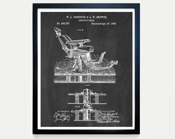 Dentist Patent - Dentist Chair Patent - Dentist Tools - Dentist Office Art - Dentist Wall Art - Teeth - Tooth - Steampunk Patent - Medical