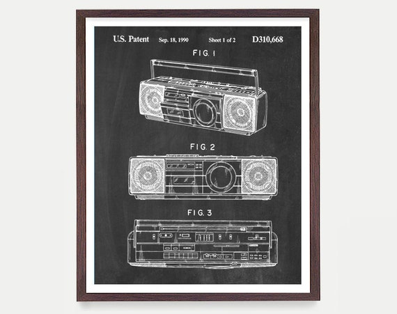 Boom Box - 80s Music - 80's Wall Art - Throwback Jams - Boom Box poster - Boom Box Patent - Stereo - Stereo Patent - Music poster -music art