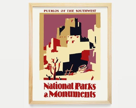 WPA Poster - WPA Art - WPA Wall Art - National Parks Poster - Pueblos - Southwest Art -Southwest Wall Art - Vintage Southwest - wpa =