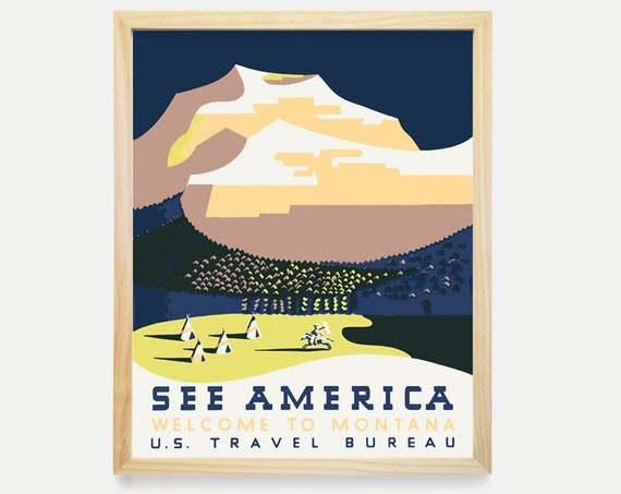 Montana WPA Poster - Montana Art - WPA Poster - wpa Art - wpa decor - Montana Print - Native American - US Travel Bureau Art - American Art