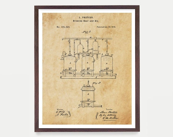 Beer Brewing Poster, Beer Patent Print, Brewing, Patent Print, Patent Poster, Home Brewing, Beer Wall Art, Beer Gift, Kitchen Wall Art