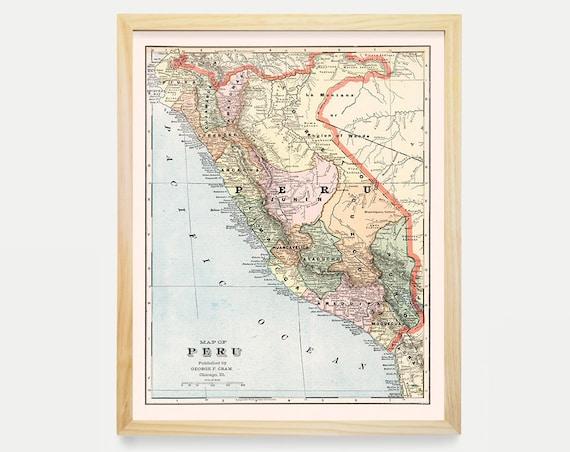Peru Map - Antique Map - Archival Reproduction - Peruvian Art - Peru Poster - Vintage Peru - South America - Peru Art - Peru Wall Art - Gift