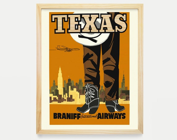 Texas Wall Art, Texas Travel Poster, Texas Poster, Airline Poster, Texas Decor, Dallas, Houston, Cowboy Poster, Travel Poster, Home Decor