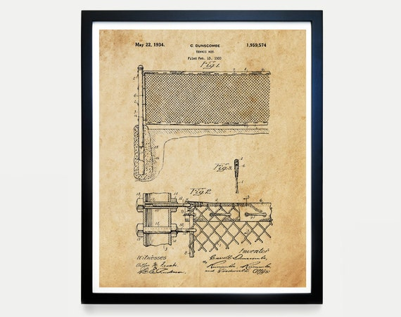 Tennis Poster - Tennis Net - Tennis Art - Tennis Inventions - Racquet Sports - Patent Print - Patent Poster - Tennis Racket - USTA -