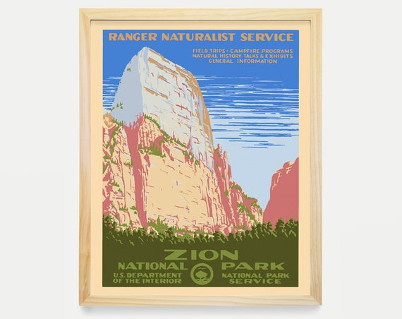 Zion National Park Poster - WPA Poster - National Park Art - Great Outdoors Poster - Zion Poster - Zion Art - WPA Art - WPA Decor - Park Art