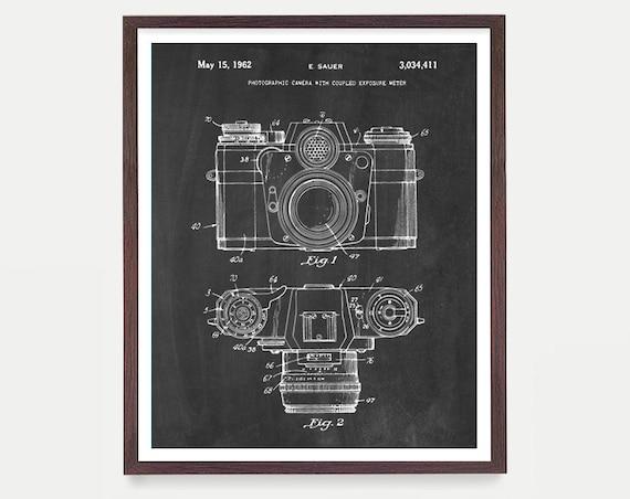 Camera Poster, Camera Art, Camera Patent Art, FIlm Camera, Patent Print, Patent Poster, Photography, Old Camera, Photography Student