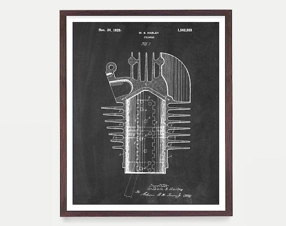Harley Davidson Poster - Harley Motorcycle Cylinder Art Print - Motorcycle Art - Patent Print - Patent Poster - Harley Patent - Harley