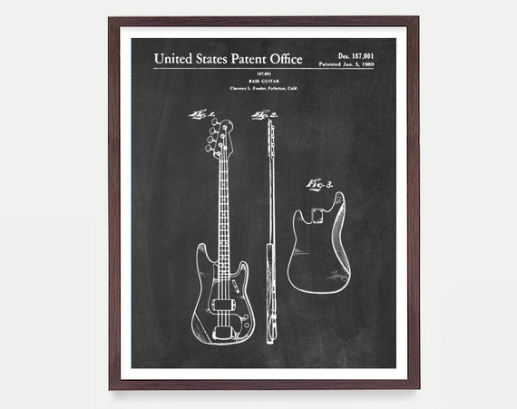 Fender Bass Patent, Fender Bass, Fender Poster, Bass Poster, Bass Print, Bass Art, Fender Wall Art, Music wall Art, Music Art, Electric