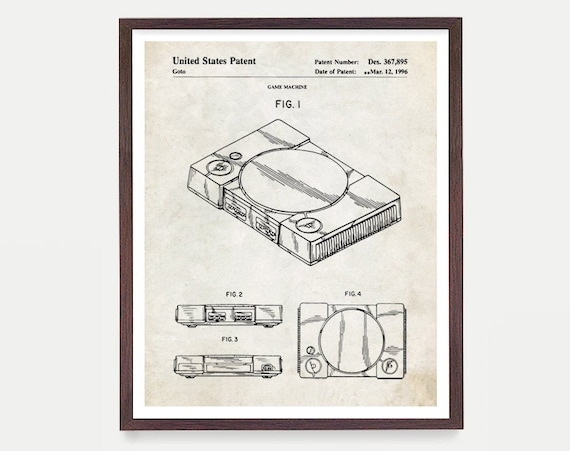 Playstation Patent Poster - Video Game Art - Video Game Poster - Playstation - Video Game Console - Video Game Wall Art - Playstation Game