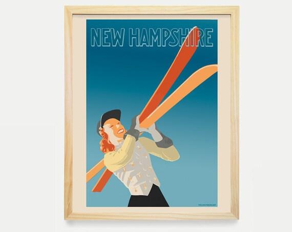 New Hampshire Wall Art - Ski Art - Ski Poster - New Hampshire Poster - New Hampshire Art - Cross Country Ski - Skiing Decor - Travel Poster