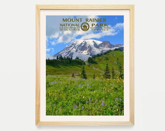 Mount Rainier National Park - National Park Poster - National Park Art - WPA - WPA Poster WPA Art - Washington State Art - Washington Poster