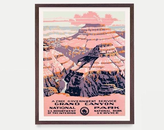 Grand Canyon National Park Poster Wall Art, WPA Poster, National Park Art, Great Outdoors Poster, Arizona Art, Grand Canyon Poster Decor