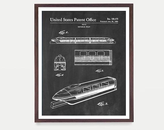 Disneyland Patent Art, Monorail Patent, Disneyland Poster, Magic Kingdom, Disneyland, Disney World Art, Kids Room Art , Disney Gift