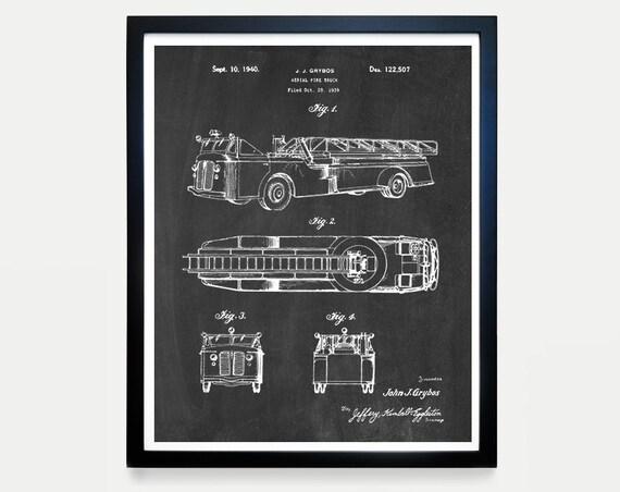 Fire Truck - Fire Truck Patent - Fire Truck Art - Fire Truck Poster - Boys Room Art - Boys Poster - Fire Truck Wall Art - Fireman - Ladder