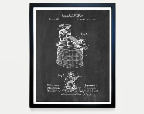 Wine Making Patent - Wine Patent - Wine Poster - Wine Art - Wine Print - Wine Decor - Wine Gift - Vineyard - Wine Wall Art - Vineyard Art