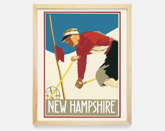 New Hampshire Wall Art - Ski Art - Ski Poster - New Hampshire Poster - New Hampshire Art - Cross Country Ski - Skiing Decor - Travel Poster