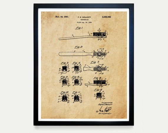 Toothbrush Patent Print - Bathroom Art - Bathroom Wall Art - Dentist - Dentist Office - Bathroom Poster - Toothbrush Art - Healthy Habits