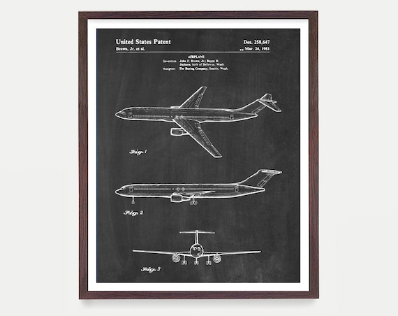 Airplane Patent Art - Boeing Patent - Boeing Art - Boeing Airplane - Airplane Art - Aviation Patent - Aviation Poster - Airplane Poster