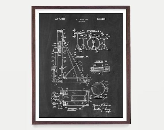 Drumset Patent - Drums - Drummer - Drum Art - Drum Wall Art - Drum Kit - Drum Kit Patent - Drum Set Art - Music Patent - Music Art - Canvas