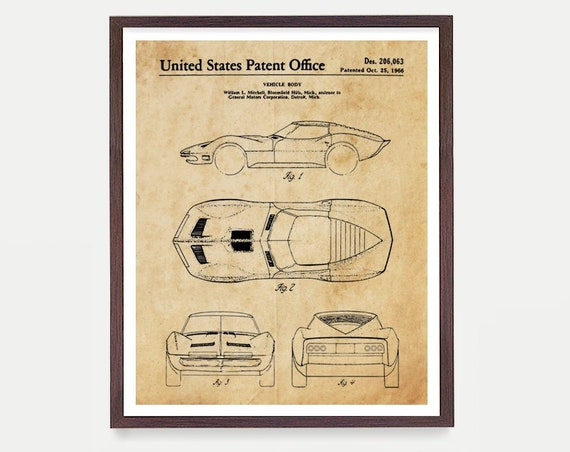 Corvette Mako Shark Patent Print - Corvette Poster - Corvette Patent Art - Corvette Art - Corvette Wall Art - Sports Car Art - Boys Room
