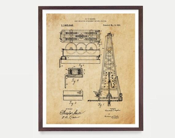 Oil Rig Patent Print Wall Art, Oil Derrick Art Print, Drilling Patent, Oil Art, Pump Jack, Oil Gift, Texas Art, Energy Decor