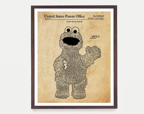 Cookie Monster Patent Poster - Cookie Monster Art - Sesame Street - Sesame Street Patent - Nursery - Baby Shower Gift  Sesame Street Gift