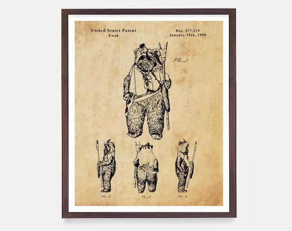 Ewok Art, Star Wars Patent, Star Wars Poster, Star Wars Art, Ewok Patent, Star Wars Wall Art, Ewok Art, Ewok Poster, Star Wars Gift
