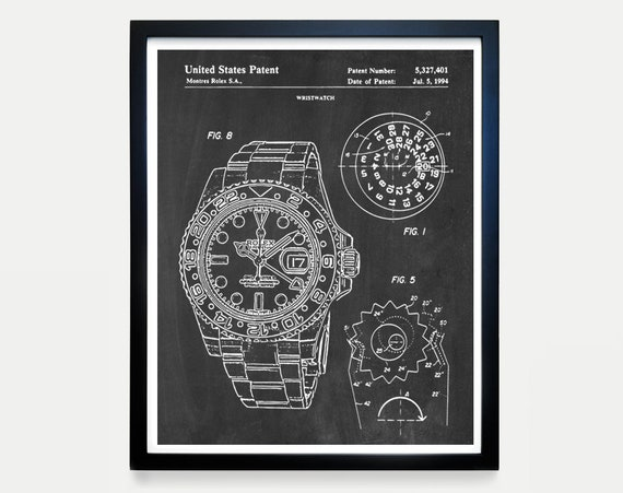 Rolex Patent Poster, Watch Art, Watch Poster, Rolex Art, Rolex Poster, Rolex Patent Art, Watch Patent, Watch Poster, GMT Master II