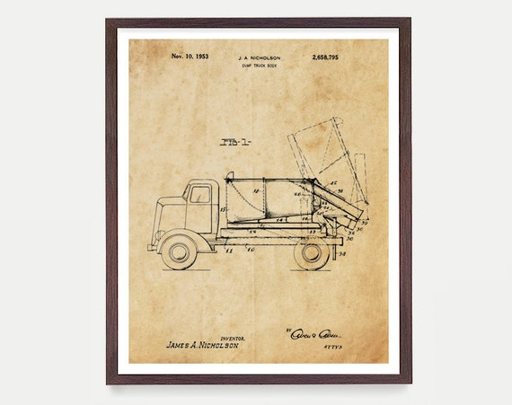 Construction Patent - Dump Truck Patent Print - Dump Truck Poster - Dump Truck Art - Construction Art - Construction Poster - Boys Room