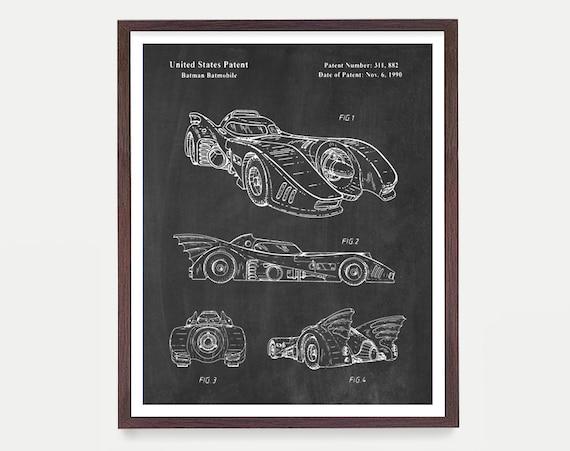 Batman Patent Print, Batmobile Wall Art Poster, Patent Art, Batman Patent Art, Batmobile Patent, Batmobile Poster, Superhero Poster