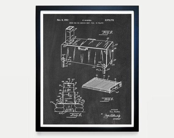 BBQ Patent - BBQ Wall Art - BBQ Poster - Barbecue - Grill Art - Barbecue patent - Barbecue Poster - Smoker - Smoker Patent - Meat Smoker