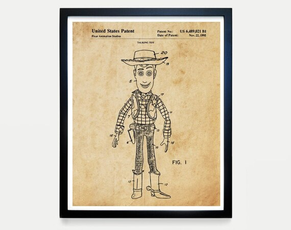 Woody Patent, Tory Story Art, Toy Story Poster, Buzz Lightyear, Kids Room Art, Kids Room Poster, Nursery Art, Baby Shower Gift