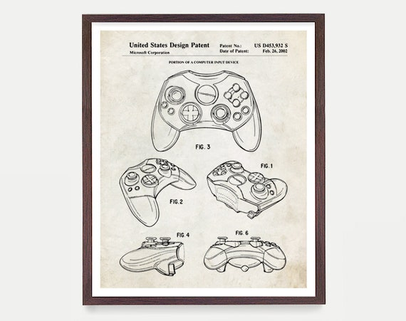 XBOX Controller Patent, Video Game Art, Video Game Poster, XBOX, XBOX Controller, Video Game Wall Art, Xbox Gift, Video Game Gift, Gamer