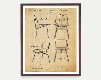 1947 Eames Modern Chair Patent Retro Mid Century Furniture Designer Patent Print