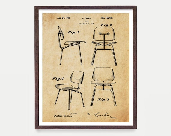 Eames Patent - Eames Chair Patent Poster - Eames Chair - Charles Eames - Home Decor - Modern Art - Eames Art Mid Century Furniture Wall Art