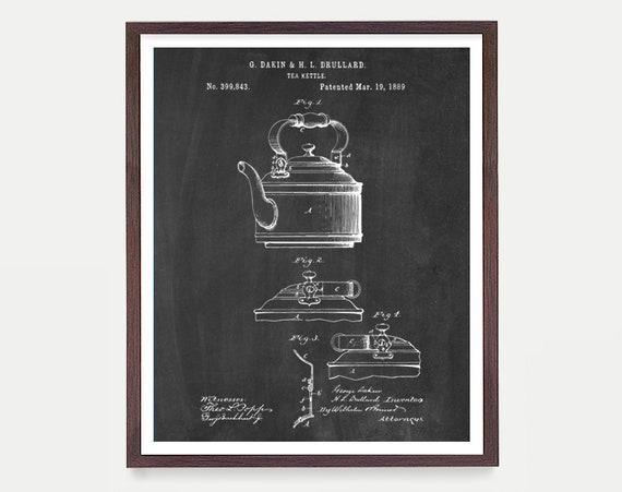 Tea Kettle Patent Print Wall Art, Tea Kettle Poster, Tea Leaves, Kitchen Wall Art, Chai, Green Tea, Housewarming Gift, Kitchen Decor