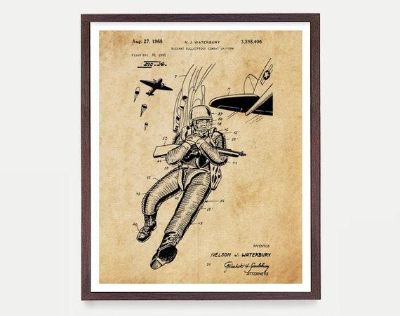 Military Uniform Patent Art - Vintage Military - Military Patent - Airborne - US Army - Military Poster - Military Art - Army Art - Canvas