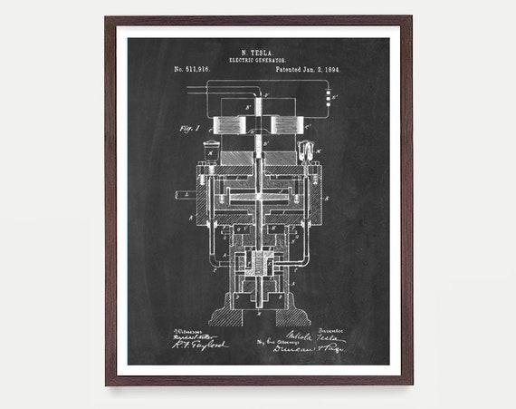 Tesla Electric Genergator - Tesla Poster - Tesla Electric Cars - Tesla Patent - NIkola Tesla - Patent Print - Tesla Patent Poster